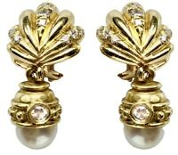 18K 14K Yellow Gold Diamond Pearl Removable Drop Day And Night Seashell Earrings