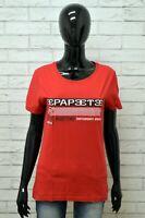 Maglia PEPEETE Donna Taglia M Maglietta Shirt Woman Manica Corta Rosso Regular