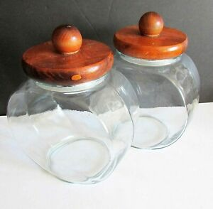 """2 General Store Counter Top Glass Canister Jars Donut Candy Wood Lids 7"""" FREE SH"""