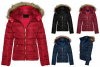 New Womens Ladies Quilted Winter Puffer Fur Collar Hooded Coat Parka Jacket Size