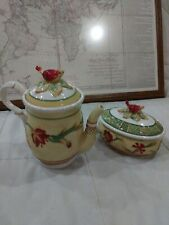 Fitz And Floyd Bellacara Tes Pot And Matching Covered Candy Dish