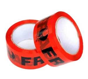 5x Fragile Tape RED Black 75M x 48mm Packaging Packing Tape