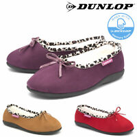 Dunlop Ladies Womens Slippers Slip On Fur Lined Comfy Memory Foam Sizes 3-8
