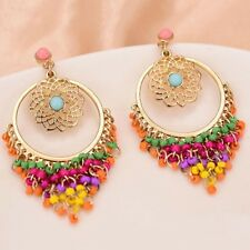 Women Drop Earrings Dangle Earrings Colorful Beads Boho Style Hollow Out