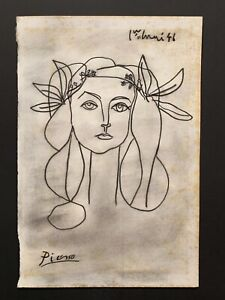 Pablo Picasso drawing Charcoal on paper, Charcoa on paper - See item description