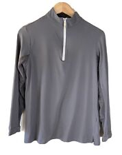 TAILORED SPORTSMAN Women's L Equestrian Riding Shirt Pale Gray Grey EUC Wicking