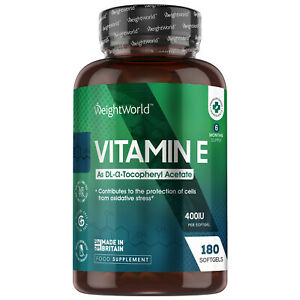 Vitamin E Oil 180 Softgels 400IU | Supplement for Hair, Skin and Body Health
