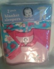 Gerber Blanket Sleepers ~ 1 Package of 2 ~ Girls ~ Pink Flowers ~ Size 18 Months