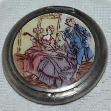 Gorgeous Antique Sterling Silver ENAMEL GUILLOCHE Compact Fabulous Colors! RARE