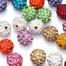 Lots 200Pc Mixed Czech Crystal Rhinestones Pave Clay Disco Ball Spacer Bead 10MM