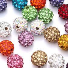 500Pcs Wholesale Craft Mixed Rhinestone Pave Clay Disco Ball Loose Beads 10MM