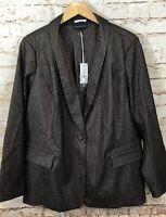 Lane Bryant Blazer womens 22 sparkle gold black New suit jacket DG