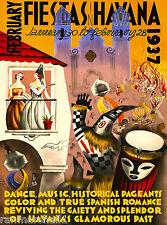 1937 Havana Fiesta Cuba Cuban Caribbean Vintage Travel Advertisement Art Poster