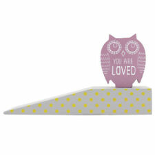 "Owl Purple ""You Are Loved!"" Door Stop Wedge Wooden Doorstop Handmade & Painted"