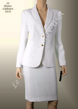TAHARI Women OFF-WHITE IVORY Size 12 2PC Two-Piece Skirt Suit 2 BUTTON Knee $280