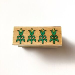 Corn Field Border Wood Mounted Rubber Stamp Used Farm Craft Scrapbooking Letters