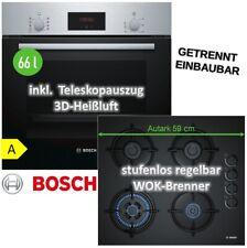Herdset Autark Bosch Elektro Backofen Herd 3D Heißluft+ GAS Glaskeramik Kochfeld