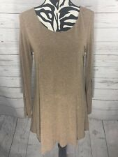 Eileen Fisher Brown A Line Long Sleeve Double Lined Tunic Top Women's M Medium F