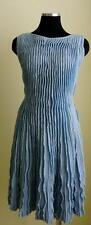 CHANEL Blue Sleeveless Ruffled Knit Dress Size:38 F  NEW