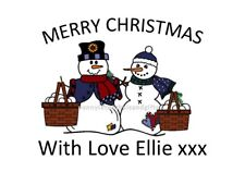 Christmas Snowman Scarf Hearts PERSONALISED STICKY ADDRESS LABELS Craft & Gift