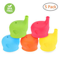 Spill Proof Straw Sippy Cups Snap On Lids Kids Toddler Drink Silicone DP
