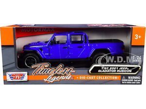 2021 JEEP GLADIATOR RUBICON (OPEN) PICKUP TRUCK BLUE 1/24-1/27 BY MOTORMAX 79370