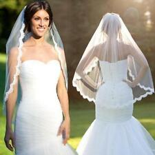 1 Layer Ivory Elbow Length Lace Edge Bride Wedding Bridal Veil + Comb