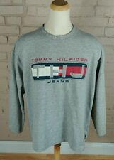 Vtg TOMMY HILFIGER Big Logo USA FLAG OG Hip Hop SWEATSHIRT 90s Color Block XL