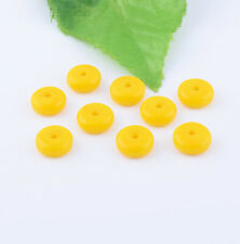 50pcs Yellow Glass Flat Round Disc Spacer Loose Beads Jewelry Findings DIY Craft