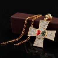 Elvis Presley Maltese Cross Concert TCB Gold Plated Chain Necklace Pendant