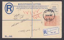 Sudan H& 00006000 G C14 used. 1954 4½p Registered Envelope,1957 Singa usage, fresh, Vf
