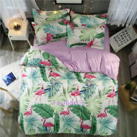 Single/Double/Queen/King Bed Quilt/Doona/Duvet Cover Set Pillow Case Flamingo