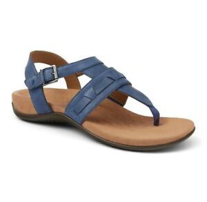 Vionic Womens Lupe T Strap Sandals Blue Adjustable Buckle 12 W New
