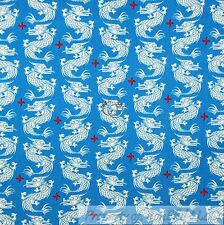 BonEful Fabric Cotton Quilt VTG Blue Red Asian DRAGON Tattoo Tatsu Chinese SCRAP