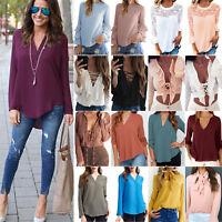donna camicetta in chiffon maniche lunghe t-shirt Casual Larga estate maglia