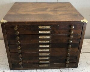 Watchmakers C&E Marshall Co 10 Drawer Parts Bridges Staffs Stems Levers Cabinet