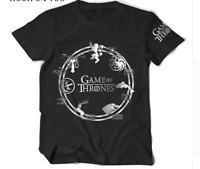 Game Of Thrones Deer Wolf Dragon Lion Print Men's GOT Short Sleeve T-Shirts