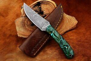 MH KNIVES CUSTOM HANDMADE DAMASCUS STEEL FULL TANG SKINNER GUT HOOK KNIFE D-09X