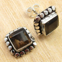 "On Trend Smoky Quartz Decorative Stud Post Earrings 0.4"" ! Silver Plated Jewelry"