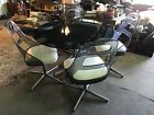 VTG Mid Century 4 Smoke Lucite and Chrome Chairs with Glass Table Top Dining