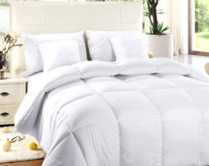 Quilted Comforter with Corner Tabs Box Stitched Down Alternative (Queen, White)