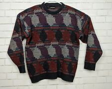 New listing Vtg 80s Colore Italia Men's Large Colorful Wool Blend Geometric Grandpa Sweater