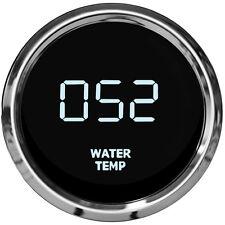LED Digital WATER TEMPERATURE GAUGE W/ Sender WHITE LEDs! Chrome Bezel Dash Auto