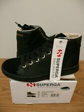 NEW SUPERGA Size 35 / 2.5 Black SUEDE NYLON High Tops Sneakers LEATHER City 4531