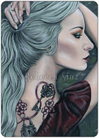 Fantasy Art ACEO PRINT Art Woman Gothic Pastel Tattoos Lock Key Mint Green Hair