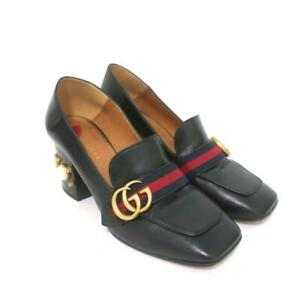 Gucci Peyton Pearl Loafer Pumps Black Leather Size 38