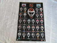 "RARE MINT 1999 NHL HOCKEY TEAMS  ""HELMET MASK LOGOS"" OFFICIALLY LICENSED POSTER"