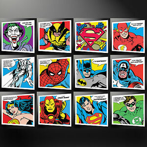 SUPER HEROES COLLECTION CANVAS PRINT PICTURE WALL ART BATMAN SPIDERMAN SUPERMAN