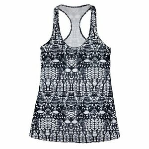 Lululemon Tank Top womens 6 Black White Cool Racerback Lace Print Luon Glacier