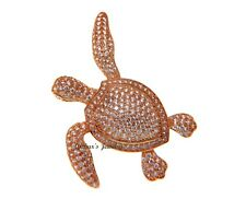 Hawaiian Sea Turtle Slider Pendant 34Mm Rose Gold Plated Silver 925 Bling Cz